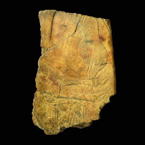"Gott-Mutter-Darstellung auf der Plakette: ""La Femme au Renne"", Abri Laugerie Basse, Les-Eyzies-de-Tayac, Dordogne, Frankreich, 14 000 v.u.Z."